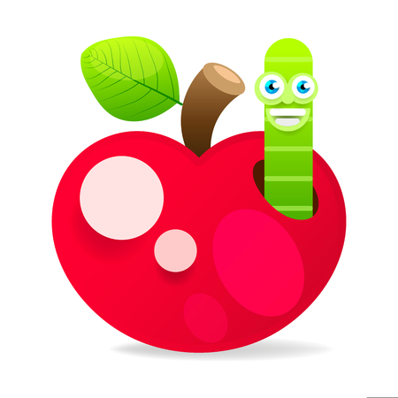 Apple With Worm On White Background Vector Illustration For Your Design Vector Illustration