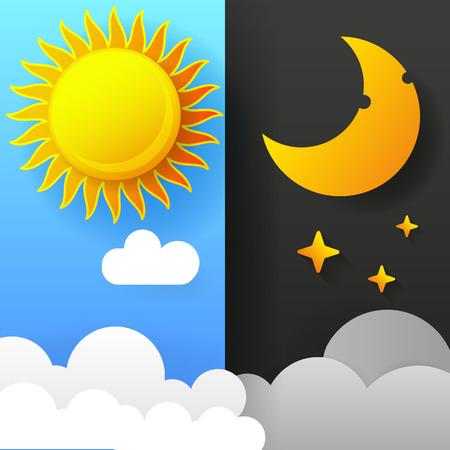 Illustration vectorielle du jour et de la nuit. Jour Nuit Concept, Soleil Et Lune, Jour Nuit Icône