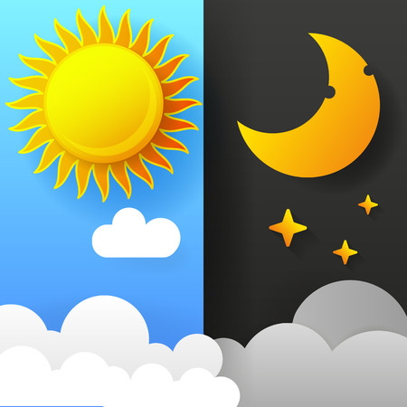 Vector Illustration Of Day And Night. Day Night Concept, Sun And Moon, Day Night Icon 免版税图像 - 119592734