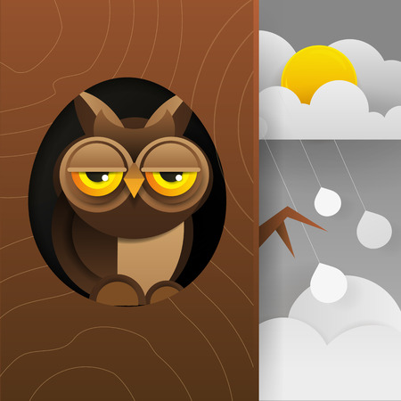 Cute Owl Sitting In Hollow Of Tree, Hollowed Out Old Tree And Cute Animal Cartoon Character Vector Illustration