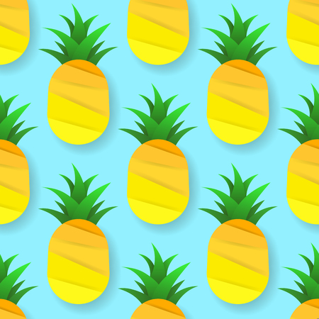 Tropical Seamless Pattern With Pineapples. Vector Illustration. Vector Seamless Background With Green Kiwi For Your Products And Business.