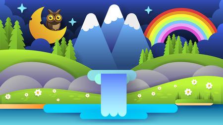 Beautiful Illustration With Blue Night Mountain Landscape. Vector Wallpaper Illustration. Vector Landscape Panorama. Beautiful Summer Landscape.