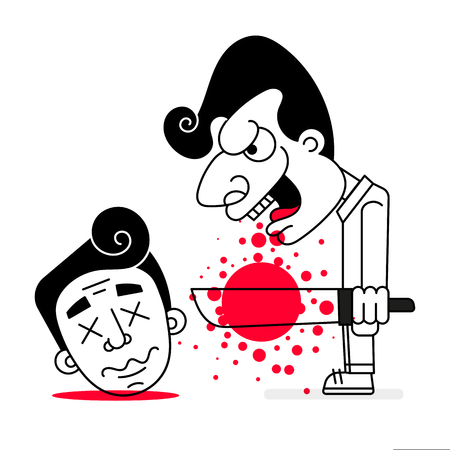 Serial Killer With Cold Weapons And Blood Vector Illustration Of Happy Halloween