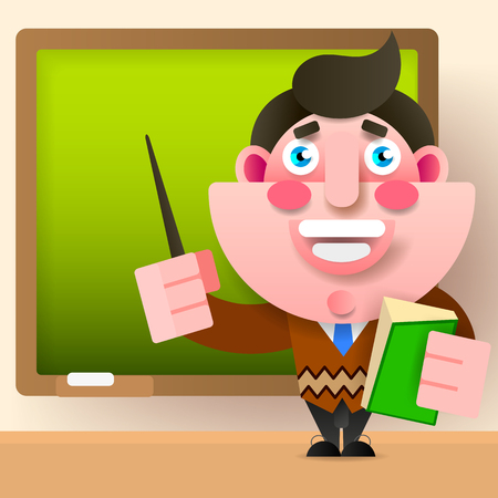 Teacher, Professor Standing In Front Of Blank School Blackboard Vector Illustration. School Teacher, Male Near Blackboard