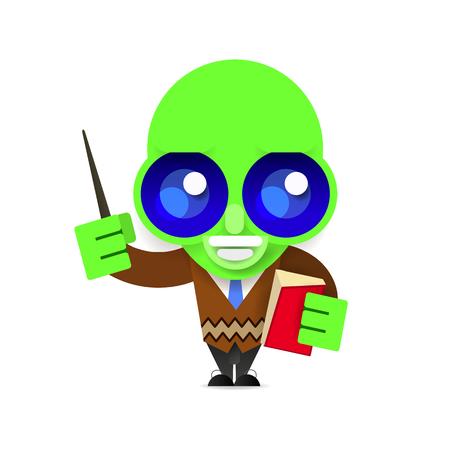 alien teacher vector illustration on white background for your design