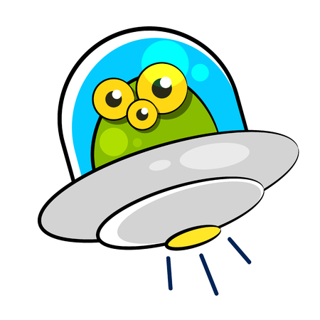flying saucer with humanoid vector illustration on white background