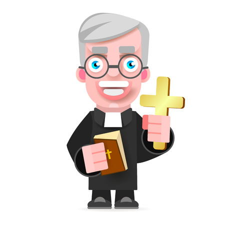 Illustration Of A Priest Icon Flat Design. Cartoon Illustration Of Priest Vector Icon For Web Vectores