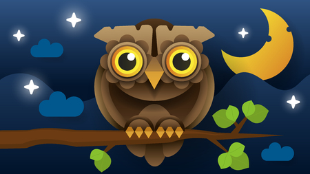 Owl Vector Isolated Icon. Wild Forest Feathered Nocturnal Predatory Bird Of Prey Sitting On Branch. Wildlife Fauna And Zoology Symbol Ilustração