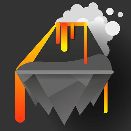 Volcano eruption natural cataclysm vector illustration for your design