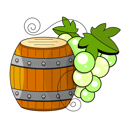 Winemaking products in sketch style. Vector illustration with wine barrel, glass, grapes, grape twig, carafe. Classical alcoholic drink. Çizim