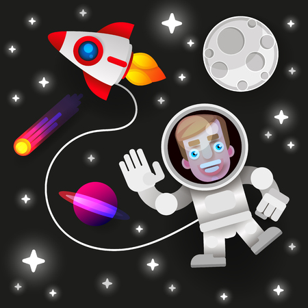 Astronaut Stay On Planet Or Moon And Welcomes Us.prints Vector Illustration. Funny Spaceman