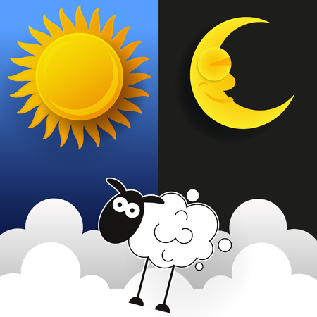 Sun, Moon And Stars. Day And Night Vector Banners Isolated.  イラスト・ベクター素材