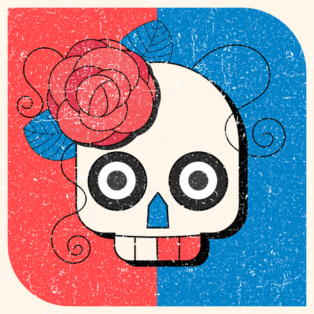 Day of The Dead colorful Skull with floral ornament Vectores