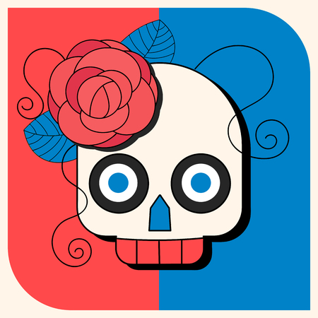 Day of The Dead colorful Skull with floral ornament Illustration