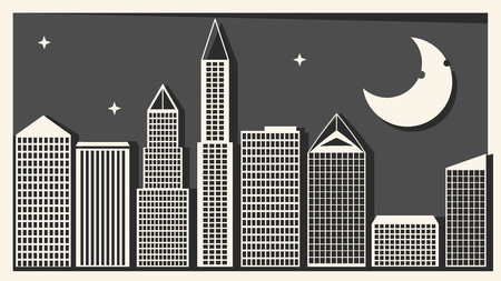 Big City With Skyscrapers Vector Illustration For Your Design And Needs Ilustração