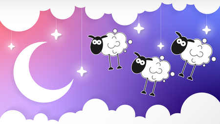 Night Sky With Crescent Moon And Clouds And Sheep Vector Background Ilustração