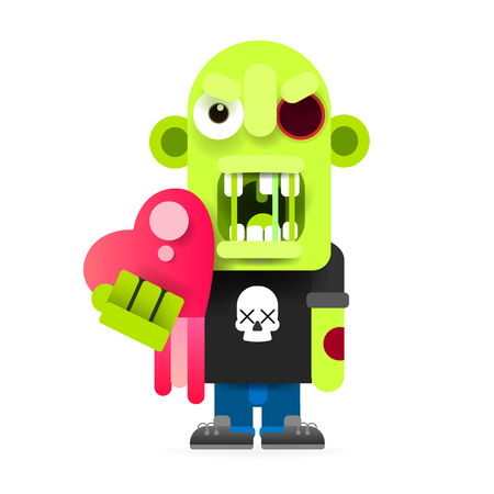 Cute monster zombie vector illustration of happy Halloween