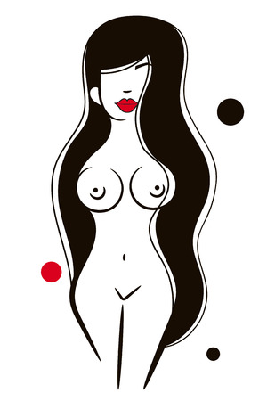 Vector, Isolated, Silhouette Girl Sexy Posing Poster For Your Design