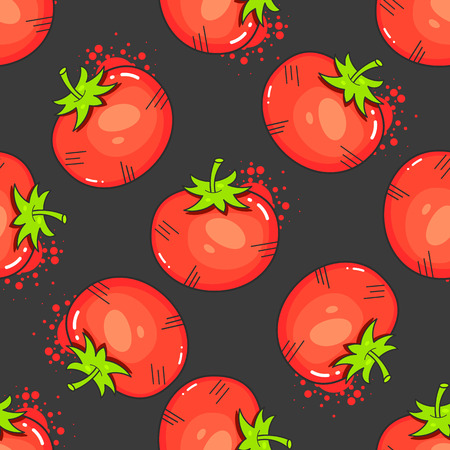Vintage Red Tomatoes On Seamless Pattern Vector Illustration