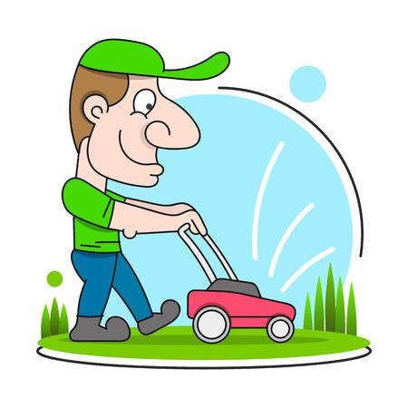 Illustration eines Gärtners mit Hut und Overall mit Rasenmäher, der Rasen mäht, gesehen von vorne auf isoliert im Cartoon-Stil.