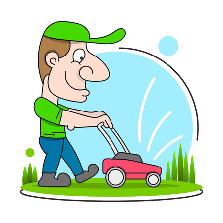 Illustration Of A Gardener Wearing Hat And Overalls With Lawnmower Mowing Lawn Viewed From Front Set On Isolated In Cartoon Style. Иллюстрация