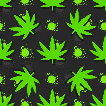 Marijuana leaves seamless pattern. Hand drawn vector illustration. Illustration