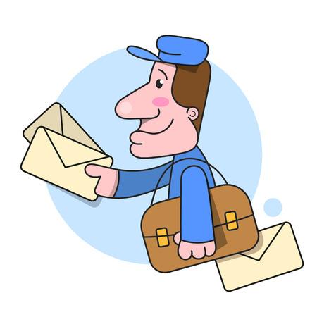 Postman s'exécute livrer la lettre Vector Illustration sur fond blanc Vecteurs