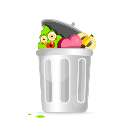 Recycle Bin Cartoon Character Modern Flat Design. Vector Illustration Isolated On White Background