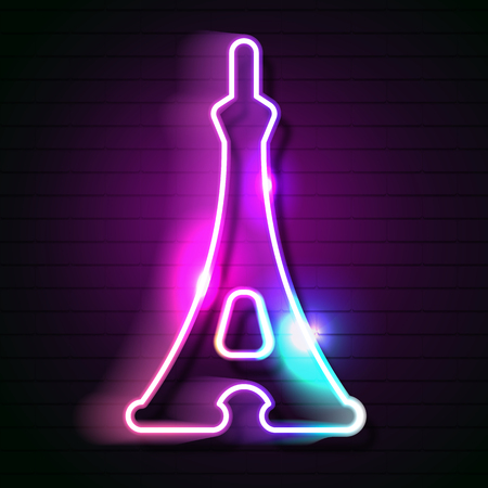 Eiffel tower neon sign illustration in neon style for French vacation, travel agency, architecture Ilustracja