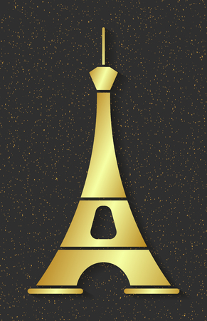 Golden Eiffel Tower. Design Element For Maps, Banners, Flyers, Lettering Isolated On Dark Background.