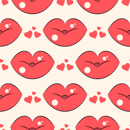 Lips pattern. Vector seamless pattern with woman s red and pink kissing flat lips. On light background
