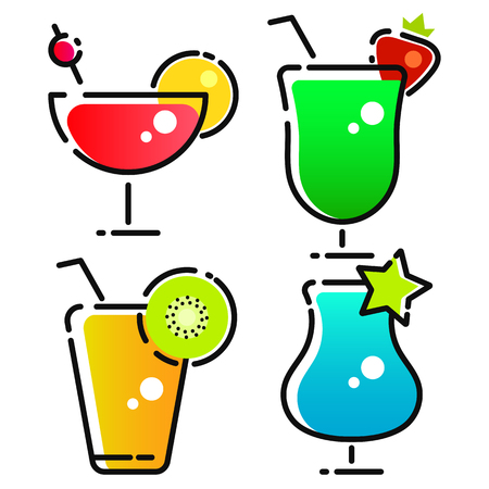 Vector Design Of Cocktail And Drink Logo. Set Of Cocktail And Ice Stock Symbol For Web.