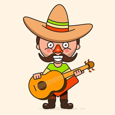 Mexican cartoon Man, Ready For Your Design, Greeting Card, Banner. Vector Illustration