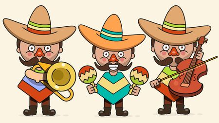 Mexican Musicians Vector Illustration With Three Men With Guitars In Native Clothes And Sombrero Flat Vector Illustration  イラスト・ベクター素材