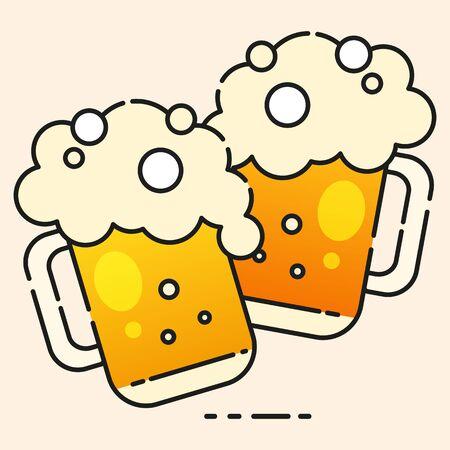 Mugs Of Beer Ready For Your Design, Greeting Card, Banner. Vector Illustration. Banco de Imagens - 124694662