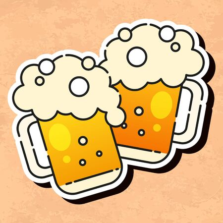Mugs Of Beer Ready For Your Design, Greeting Card, Banner. Vector Illustration.