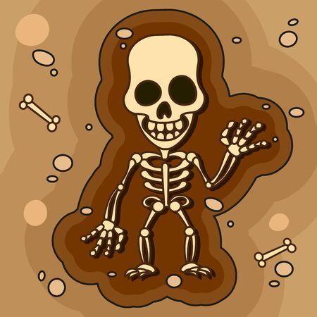 Archaeologists, Paleontologists Working On Excavations Or Dig A Layer Of Soil With A Shovel And Explore The Artifacts Found. The Study Of Human Fossil Skeletons Bones Cartoon Vector Illustration