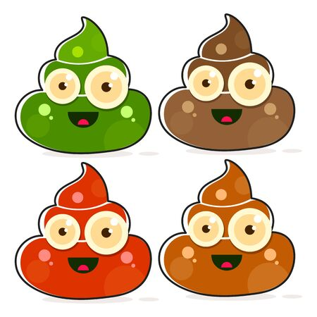 Vector Set of Cartoon Brown Poop. Shit Variations.