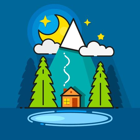 Log Cabin In The Woods Vector Icon Ready For Your Design, Greeting Card, Banner Illustration