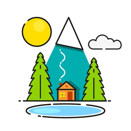 Log Cabin In The Woods Vector Icon Ready For Your Design, Greeting Card, Banner Stock Illustratie