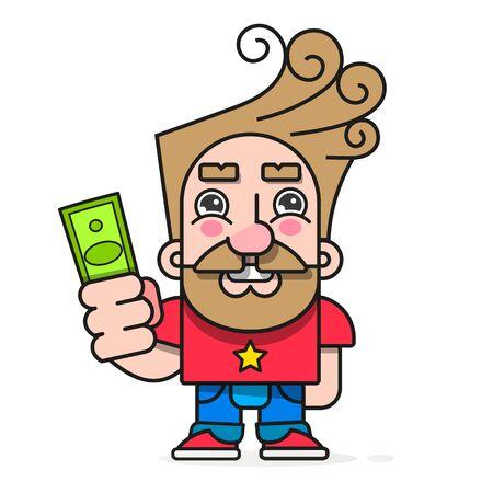 L'acheteur avec de l'argent en main, veut acheter un caractère vectoriel de marchandises prêt pour votre conception, carte de voeux