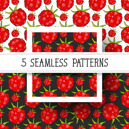 Set Seamless Background With Raspberries, Vector Image Ready For Your Design