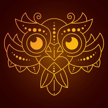 Cute Cartoon Owl With Feathers On Dark Background Vector Bird