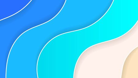 Abstract Beach Background Paper Style Summer Holiday Vector Illustration Çizim