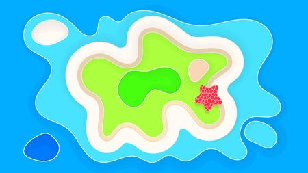 Abstract Beach Background Paper Style Summer Holiday Vector Illustration Illustration