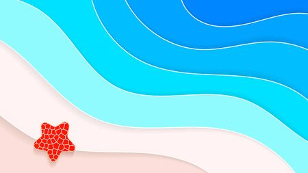 Abstract Beach Background Paper Style Summer Holiday Vector Illustration Ilustração