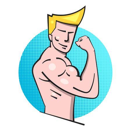 Bodybuilder Fitness Model Posing Logo . Muscle Man Emblem Çizim