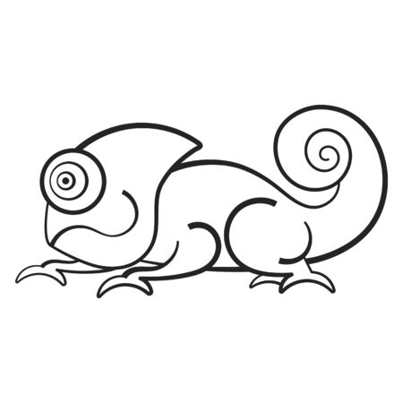 Black And White Vector Illustration With A Chameleon . It Can Be Used As A Coloring Antistress For Children.
