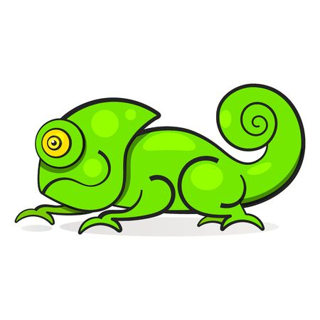 Chameleon Lizard Rainbow Color Cartoon Character Graphic Illustration