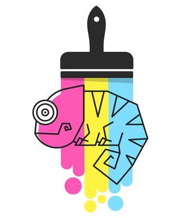 Chameleon Lizard Rainbow Color Cartoon Character Graphic Illustration